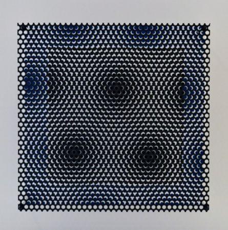 Гравюра На Дереве Asis - Vibration carré noir et bleu