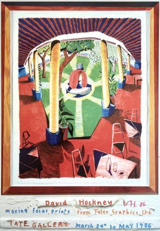 Литография Hockney - 'Views of Hotel Well III' Hand Signed Exhibition Poster 1986