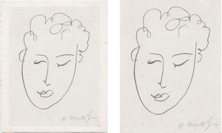 Литография Matisse - VISAGE DE FEMME. Pour Jules Romains : Pierres Levées, poèmes. Paris 1948