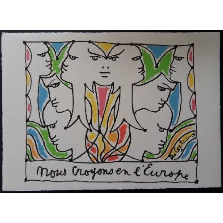 Литография Cocteau - Visages l'Europe