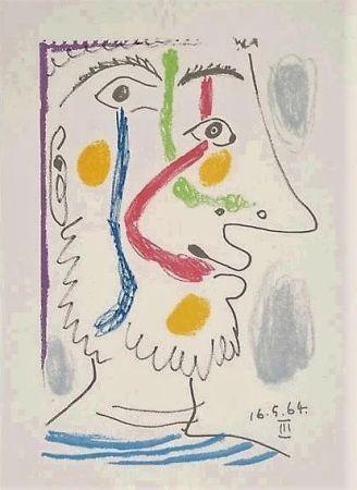 Литография Picasso - Viso colorato