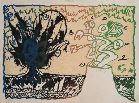 Литография Alechinsky - Volcan alphabétique