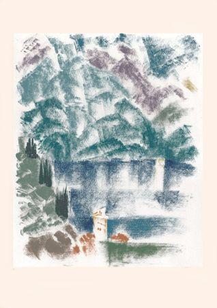 Литография Masson - Voyage à Venise : Le lac de Come