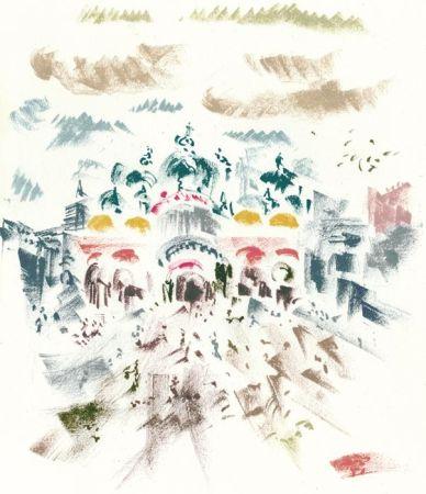 Литография Masson - Voyage à Venise : Place Saint-Marc