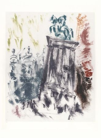 Литография Masson - Voyage à Venise : Statue du Colleoni, le soir