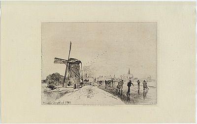 Гравюра Jongkind - Vue de la ville de Maassluis, in Eaux-fortes modernes publiées par la Société des Aqua-fortistes.