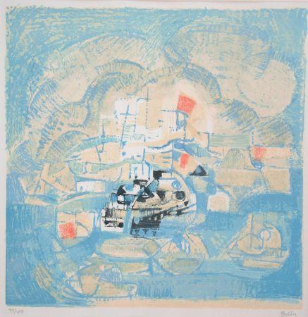 Литография Bolin - Vue d'un port
