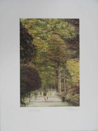 Литография Altman - Walking in Central Park