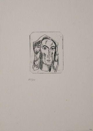 Гравюра Tappert - Weiblicher Kopf mit Tuch