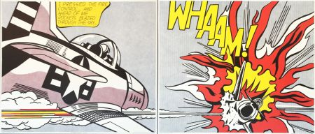 Литография Lichtenstein - 'WHAAM!' (Diptych) Pop Art Poster Print Set