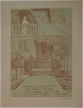 Литография Amiet - Wohnhaus des Künstlers auf der Oschwand