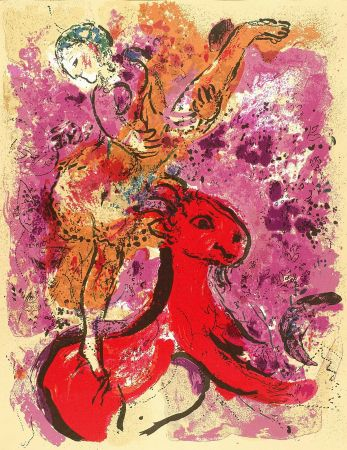 Литография Chagall - Woman Circus Rider On Red Horse