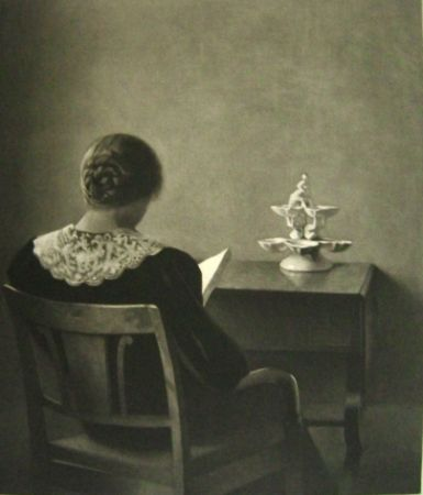 Mezzotint Ilsted - Woman Reading