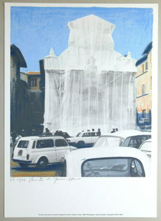 Литография Christo - Wrapped fountain, Spoleto 1968