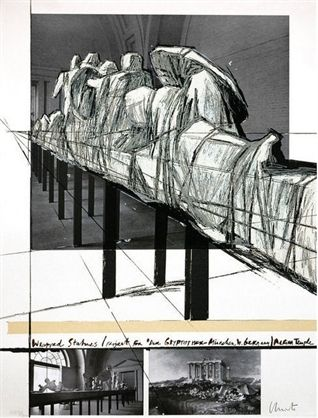 Сериграфия Christo - Wrapped Statues – Project For Derglypotek-Munchen, West Germany, Aegina Temple