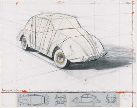 Литография Christo - Wrapped Volkswagen (PROJECT FOR 1961 VOLKSWAGEN BEETLE SALOON)