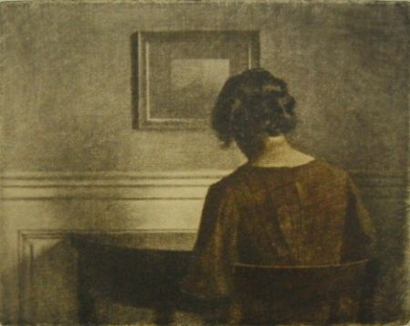 Mezzotint Ilsted - Young  girl by a semi-circular table
