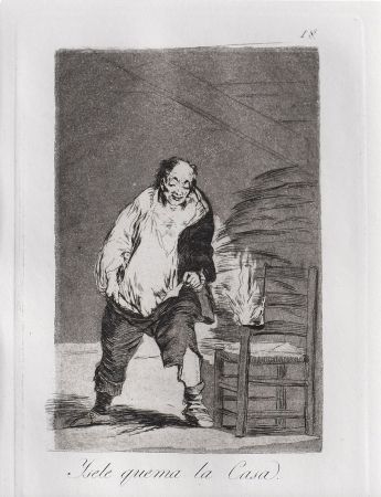Офорт И Аквитанта Goya - Ysele quema la casa / And His House Burns Down