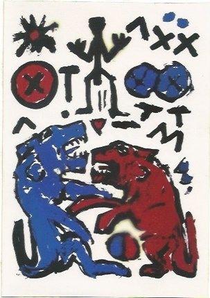 Сериграфия Penck - Zwei Lowen